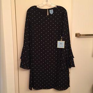 CeCe Black Polka Dot Ruffle Cuffs Dress Size 10